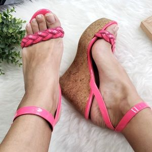 Valentino Garavani Shoes - Valentino Garavani Pink Patent Leather Cork Wedges